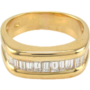 Gents 18 Karat Yellow Gold & Baguette Diamond Band Style Statement Ring