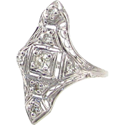 Edwardian Platinum & European Cut Diamond Filigree Ladies Ring