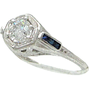 Vintage Art Deco 20 Karat White Gold Diamond & Sapphire Bridal Engagement Ring