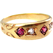 Stunning Antique Victorian Band with gypsy set Spinel and Pink Sapphire with Rose Cut Diamond