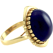 Vintage High Polished Round Cabochon Lapis Lazuli Ring in 14K Yellow Gold