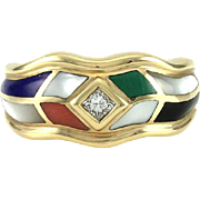 Lapis Lazuli, Malachite, Coral, Black Onyx, and Mother of Pearl Inlay Ring with Diamond ...
