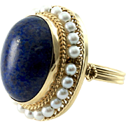 Vintage Oval Cabochon Lapis Lazuli Ring with Pearl Halo in 14K Yellow Gold