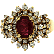 Genuine Ruby Ring with Diamond Cluster Halo in 14K Yellow Gold