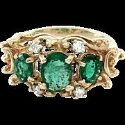 Vintage Emerald & Diamond Ring 14K Yellow Gold