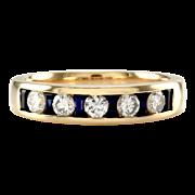 Sapphire and Diamond Anniversary Band/ Ring in 14K Yellow Gold