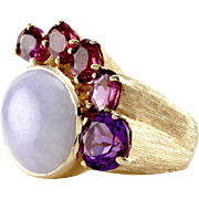Lavender Jade, Garnet and Amethyst Cocktail Ring in 14K Yellow Gold