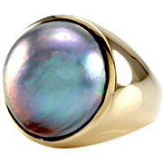 Blue Grey Mabe Pearl Solitaire w/ Peacock Luster in 14K Yellow Gold