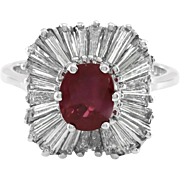 Ruby and Diamond Ballerina Ring in High Polished 18K White Gold