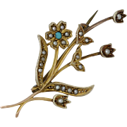 Antique 1880 Victorian 9 Carat Yellow Gold Turquoise Seed Pearl Posey Brooch