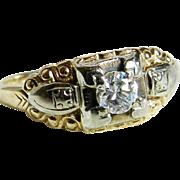 SALE Diamond Engagement Ring Art Deco Diamond Ring 0.30 ct Old European Cut 14k ...