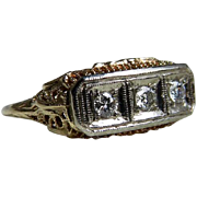Art Deco Engagement Ring Vintage Edwardian Style 14k Art Deco Filigree Transitional Cut Diamon