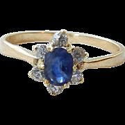 Sapphire Engagement Ring Genuine 0.35ct Sapphire 0.21cttw Diamond Ring 14 Karat Yellow Gold