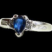 Sapphire Engagement Ring Genuine Natural Blue 0.75 Carat Sapphire 0.18cttw Diamond Ring 14K ..