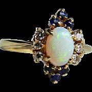 Opal Ring Vintage Opal Diamond Sapphire Engagement Ring 14 Karat yellow gold