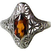 Vintage Art Deco Engagement Ring Engagement Ring fancy cut Citrine Stone 14k gold filigree ...