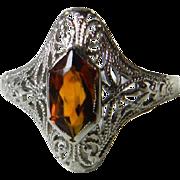 Vintage Art Deco Engagement Ring Engagement Ring fancy cut Citrine Stone 14k gold filigree ...