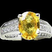 Sapphire Ring Platinum Vintage Yellow Sapphire Engagement Ring Natural Ceylon 2.0 Ct Sapphire