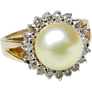 Vintage Cultured Pearl Ring 8mm Cultured Pearl Diamond Halo 14k yellow and white gold