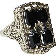Art Deco Ring Edwardian Ring Black Onyx 14k White Gold Filigree