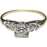Art Deco Diamond Engagement Ring 0.20 cttw 14k white and yellow gold