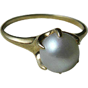 Antique Cultured Pearl Engagement Ring Victorian Pearl Engagement Ring  7.5mm Cultured Pearl .