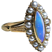 Antique Victorian Opal Engagement Navette Natural Seed Pearl Opal Ring 18k yellow gold setting