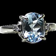 Aquamarine Ring 1.17 Carat Oval Shaped Aquamarine Engagement Ring 0.02cttw Diamond Accents ...