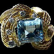 Vintage Estate Aquamarine Ring 3.0 carat square cut Aquamarine 0.25cttw Diamonds 14k gold