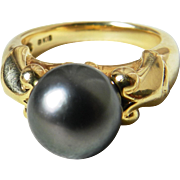 Mikimoto Black Pearl Engagement Ring 9.7mm Tahitian Black Mikimoto Pearl Ring 18k yellow gold