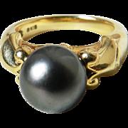 Mikimoto Black Pearl Engagement Ring 9.7mm Tahitian Black Mikimoto Pearl Ring 18k yellow gold