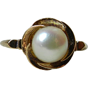 Vintage Pearl Engagement Ring 6.5mm Cultured Pearl Engagement Ring 14k yellow gold