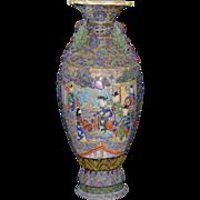 Monumental sized Satsuma Style Moriage Vase