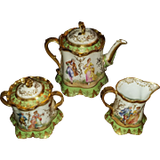 Hand Painted Dresden Sugar and Creamer on Meissen Body by Ambrosius Lamm - the Gold Rose ...