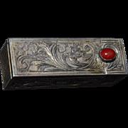 Vintage Italian .800 Silver Engraved Lipstick Holder