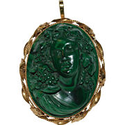Victorian Malachite Cameo Brooch/Pendant Depicting Bacchae - Mid 19th Century