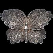 Vintage Handarbeit Butterfly Brooch