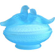 Blue Westmoreland Glass Jewelry Box with Love Bird Doves