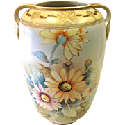 Beautiful Antique Nippon Floral Vase with Hand Painted Floral design and Gold Etching