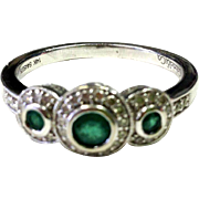 SALE Exquisite Emerald Ring with Diamond Accents in a Halo Style and 14K White Gold