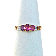 SALE Vintage Oval Pink Tourmaline Ring With 10K Yellow Gold