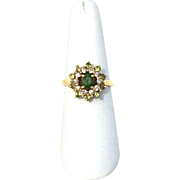 Beautiful Vintage double halo style Peridot Ring with diamonds and 14K Yellow Gold