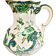 Vintage Mason's Ironstone Chartreuse Pitcher with Serpent Handle, Green Floral, and Gold ...