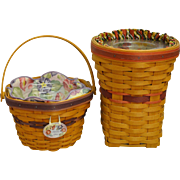 Handwoven Longaberger Basket Set with liners and protector: May Series