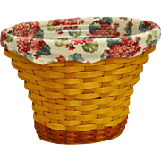 2002 Longaberger Geranium May Series Handwoven basket with liner and protector