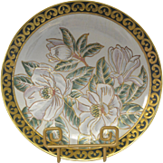 Vintage Decorative White Magnolia Cloisonne Plate with gold outline