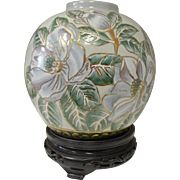 Vintage Decorative Cloisonne Ginger Jar with Beautiful White Magnolia and Gold outline