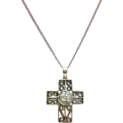 "Sterling Silver Cross with Ancient Roman Glass on 18"" Sterling Silver Chain"