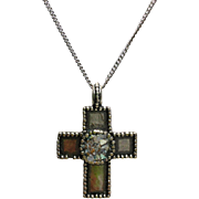"REDUCED Sterling Silver Cross Pendant with Ancient Roman Glass on a 18"" Sterling Silver C"
