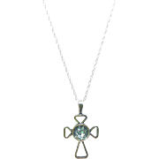 "Sterling Silver Cross Pendant with Ancient Roman Glass on a 18"" Sterling Silver Chain"
